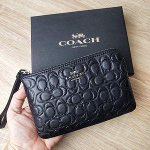 COACH Black Glitter Wristlet Wallet BNIB